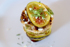 Mini pancakes stacked with figs and feta