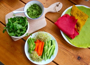 Check out these colours! The wraps are Beet, Spinach and Turmeric. So vibrant!