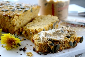 dandelion bread with nut butter